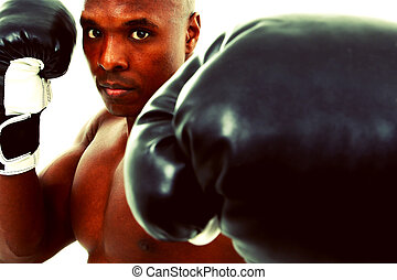 dertig, op, bokser, black , aantrekkelijk, witte , man
