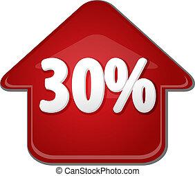 dertig, procent, op, omhoog, richtingwijzer, bel, illustratie