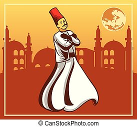 Dervish And Fullmoon Mosque Background - Vector illustration...