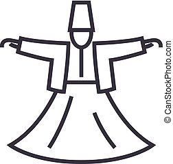 dervish dance,islam vector line icon, sign, illustration on...