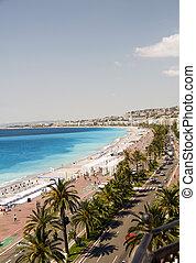 des, d'azur, anglais, riviera, ホテル, フランスのフランス, プロムナード, 有名, cote, 大通り, 内側を覆われた, 浜, すてきである