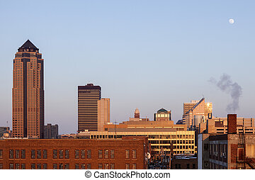 Des Moines architecture at sunset. Des Moines, Iowa, USA.