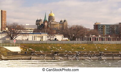 Des Moines Iowa Riverfront Capital Building Government Dome...