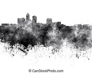 Des Moines skyline in black watercolor on white background