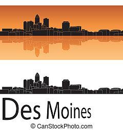 Des Moines skyline in orange background in editable vector file