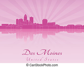 Des Moines skyline in purple radiant orchid in editable vector file