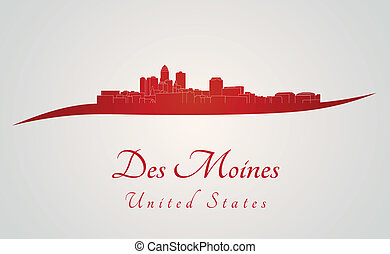 Des Moines skyline in red and gray background in editable ...