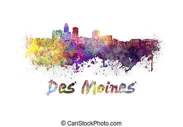 Des Moines skyline in watercolor splatters with clipping ...