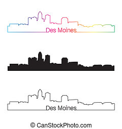 Des Moines skyline linear style with rainbow in editable ...