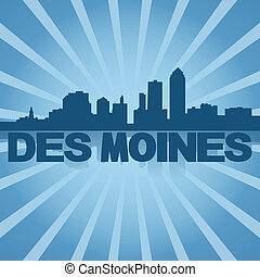 Des Moines skyline reflected with blue sunburst illustration