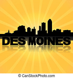 Des Moines skyline reflected with sunburst illustration