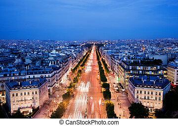 des, paris, frança, noturna, avenida, champs-elysees-elysees