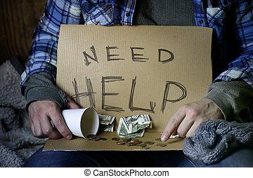 desabrigado, homem, perguntar, ajuda