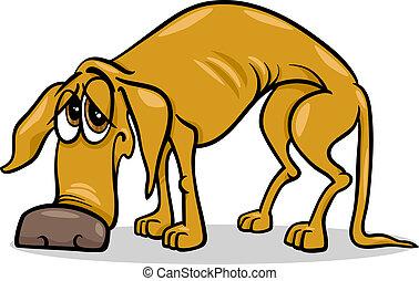 desabrigado, triste, caricatura, ilustração, cão