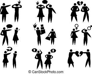 desacuerdo, entre, mujer hombre, en, relaciones, vector, icono, conjunto