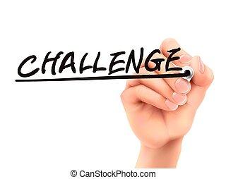 desafío, palabra, escrito, por, 3d, mano