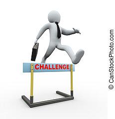 desafío,  -, salto, valla, hombre de negocios,  3D