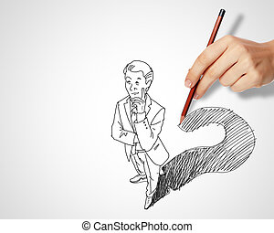 Desafíos, preguntas, empresa / negocio, dibujo