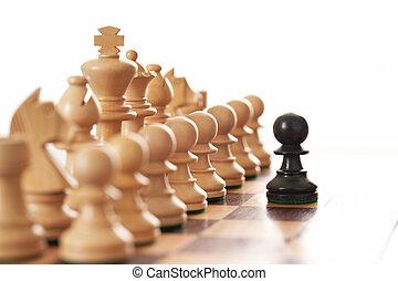desafiante, peón, ejército, pedazos, negro, ajedrez, blanco