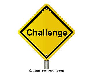 desafio, à frente, aviso