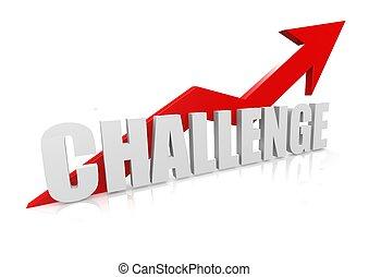 desafio, com, cima, seta vermelha