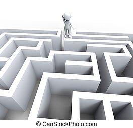 desafio, confundido, homem, labirinto, 3d, ou, mostra