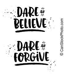 desafio, para, acreditar, desafio, para, perdoar, fé, tipografia, jogo