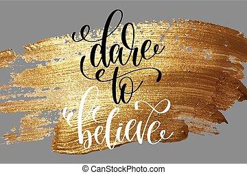 desafio, para, acreditar, -, mão, lettering, positivo,...