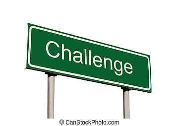 desafio, verde, isolado, sinal estrada