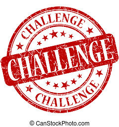 desafio, vermelho, redondo, grungy, vindima, selo borracha