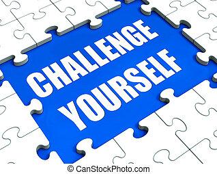 desafio, você mesmo, quebra-cabeça, mostrando, motivação,...