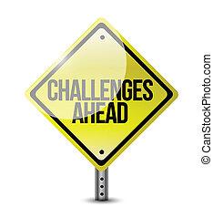 desafios, à frente, sinal estrada, ilustração, desenho