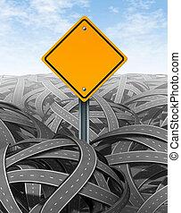 desafios, símbolo, com, em branco, sinal estrada