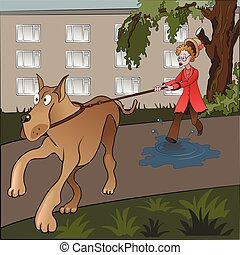 desafortunado, dogwalker.