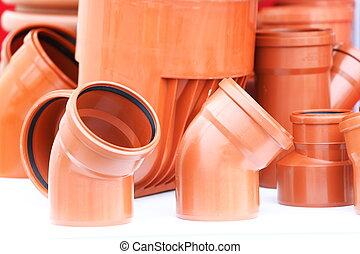 desagüe, tubos, pieces-, pvc, plano de fondo, naranja, blanco