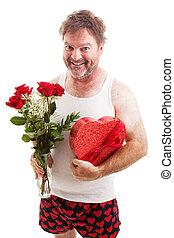 desaliñado, valentines, tipo, en, ropa interior