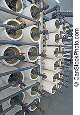 Desalination filters - Racks of filters in a desalination...