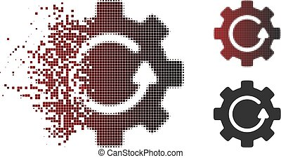 desaparecer, pixel, halftone, engrenagem, rotação, ícone