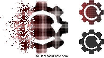 desaparecer, pixel, halftone, engrenagem, rotação, direção, ícone