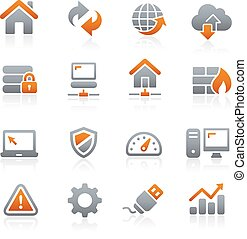 desarrollador de web, iconos, grafito