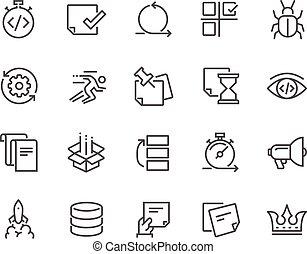 desarrollo, ágil, línea, iconos