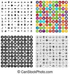 desarrollo, 100, conjunto, variante, iconos