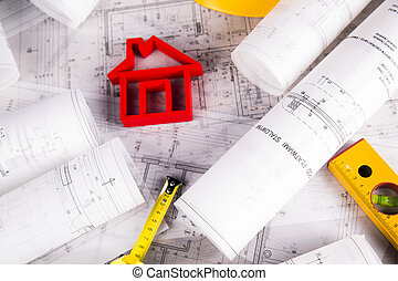 desarrollo, arquitectura, cianotipo