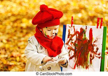 Desarrollo, caballete, concepto, creativo, otoño, niños, niño, dibujo, parque