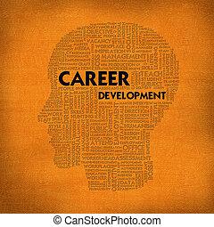 desarrollo, cabeza, concepto, palabra, carrera del negocio,...