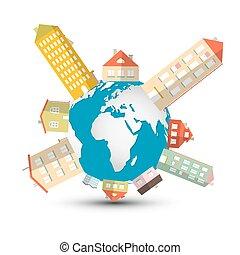 desarrollo, caja, -, ilustración, casas, vector, globo de la...