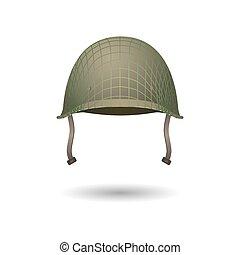 desarrollo, casco, proyección, clásico, uniforme, lines., diseño, militar