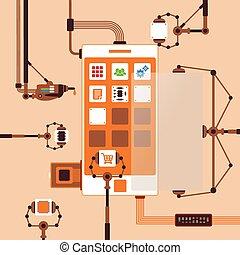 desarrollo, concepto, aplicación, proceso, móvil, vector, ...