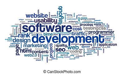desarrollo, concepto, etiqueta, nube, software