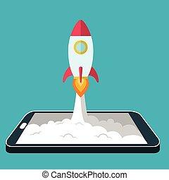 desarrollo, concepto, lanzamiento, cohete, empresa /...